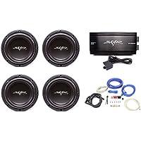 Skar Audio 4x VVX-8v3 D2 800 Watt Subwoofers with RP-1500.1D Monoblock Sub Amplifier and 4 Gauge Complete Amp Kit