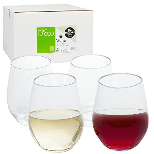 Unbreakable Stemless Wine Glasses 18oz - 100% Tritan - Shatterproof, Reusable, Dishwasher Safe (Set of 4 Stemless)