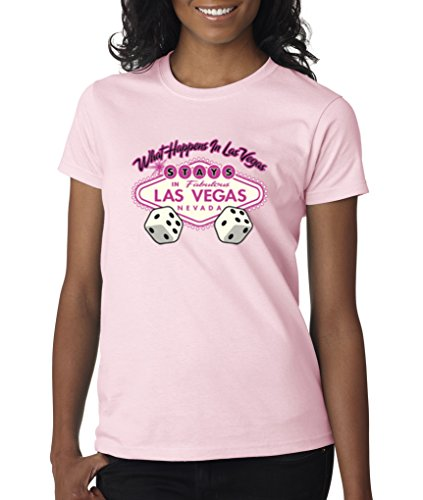 What Happens In Vegas Stays In Vegas Dice Pink Ladies T-Shirt S-2XL - Pink - XL