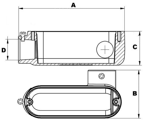 Morris 14190 EMT Set Screw Conduit Body, Aluminum, Type LR, Cover and Gasket, 1/2'' Thread Size