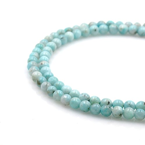 BRCbeads Natural Amazonite Gemstone Round Loose Beads 7mm Approxi 15.5 inch 55pcs 1 Strand per Bag for Jewelry Making