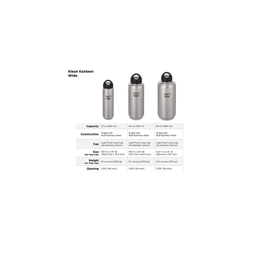 Klean Kanteen Wide Mouth Single Wall Stainless Steel Water Bottle with Leak Proof Stainless Steel Interior Cap