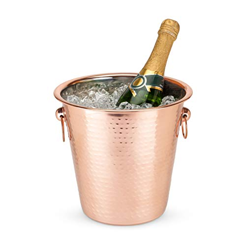 Twine 4644 Old Kentucky Home Hammered Copper Ice Bucket, Multicolor