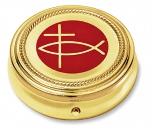Ichthus Cross Pyx Hospital Communion Church for Hosts Gold P Catholic Religious