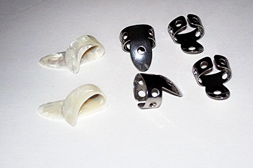 2 Small White Pearloid Thumb Pick and 4 NP1 Steel National Finger Pick 101786; Banjo,  Dobro, Steel, Guitar, USA