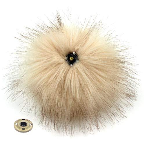 SUSULU Set of 12pcs Faux Fox Fur Pompoms for Hats 12CM 4.7inch Fur Pompoms with Snap Buttons (Beige) -  furling, FH12BEUS*12