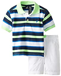 Nautica Baby Boys\' 2 Piece Multi Stripe Polo with Drawstring Short, Neon Lime, 12 Months
