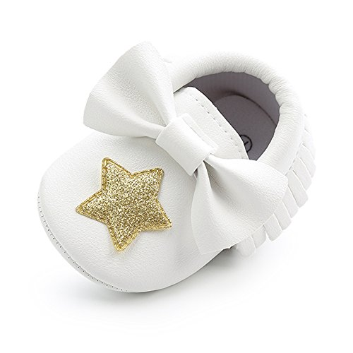 - Royal Victory Baby Boys Girls Shoes Soft Sole 0-18 Months Toddler PU Moccassins Crib Shoes With Cute Bowknots Tassels (12cm(6-12 Months), White-Gold Star)