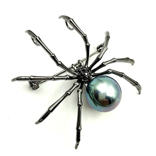 DREAMLANDSALES Victorian Style Mother of Pearl Body and Micro Pave Spider Brooches Pins Silver Tone (Black)