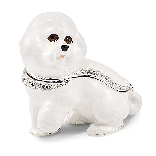 Jere Luxury Giftware Bejeweled Brenda Bichon Frise, Pewter with Enamel Collectible Trinket Box with Matching Pendant Necklace
