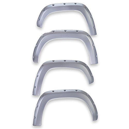 (EGR 793474-UX Bolt-On Look Paint Match Fender Flare Set of 4 No-Drill Front And Rear Ingot Silver Bolt-On Look Paint Match Fender Flare Set of)