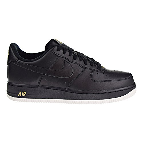 - NIKE Mens Air Force 1 Low 07 Crest Basketball Shoes Black/Summit White/Metallic Gold AA4083-014 Size 12