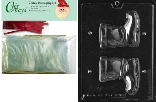 Cybrtrayd MdK25R-C423 Santa Boot 3D Christmas Chocolate Mold with Packaging Kit, Medium