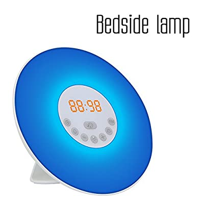 Morning Wake up Light Malanzs Electronic Touch Control Colored Alarm Clock with FM Radio for Atmosphere Lamp Bedside Lamp Nature Night Light RGB LED Lamp