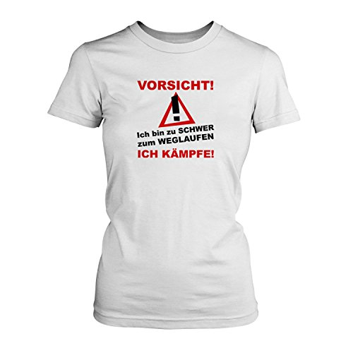 Vorsicht! Ich bin zu schwer zum Weglaufen, ich kämpfe! - Damen T-Shirt von  Fashionalarm | Fun Shirt Spruch Motto Spaß Übergewicht Abnehmen Diät:  Amazon.de: ...