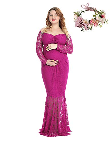 - Pregnant Women Off Shoulder Long Sleeve Lace Maternity Gown Maxi Photography Dress (Rose Red, Small)