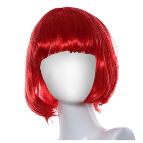 Red Hair Female Costumes (Short Wig, Inkach Women Lace Front Wigs Bob Straight Synthetic Hair Wig (Red))