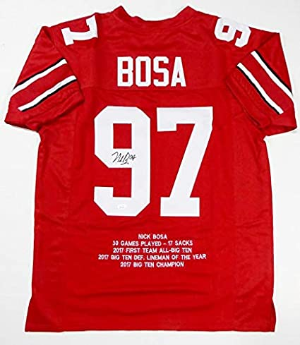 Nick Bosa Autographed Red College Style STAT Jersey- JSA W Auth 9 ...