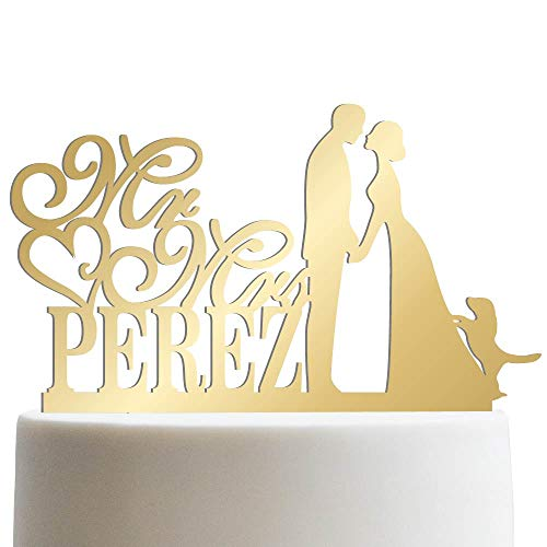 Groom Bride and Puppy Wedding Cake Topper Custom Made Wedding Favor Mr Mr With Dog Cake Topper for Wedding   Mirrored Cake Toppers ()