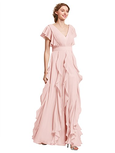 Bridesmaid A-line Bridal Dress - AW Bridal Long Bridesmaid Dresses for Women Formal Dresses with Sleeves Chiffon Gowns and Evening Dresses, Pearl Pink, US10
