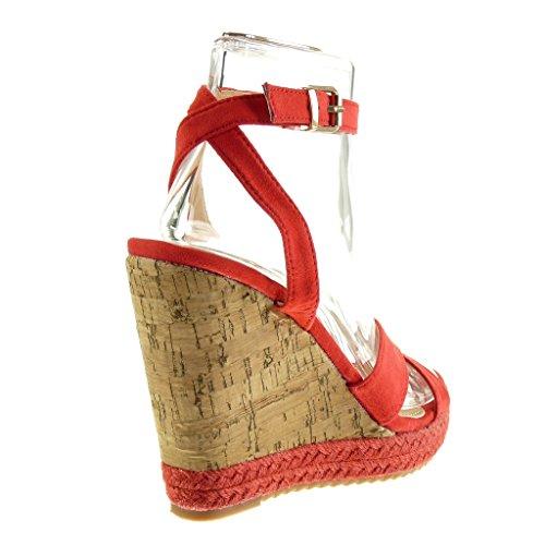 Plataforma Mujer Cuerda Tanga Alpargatas 12 Plataforma Sandalias Talón Corcho Angkorly CM Rojo Moda Zapatillas XUYqwxnHv
