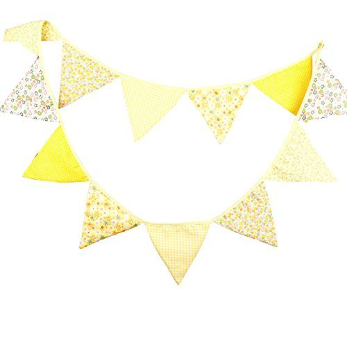 INFEI 3.2M/10.5Ft Vintage Floral Fabric Flags Bunting Banner Garlands for Wedding, Birthday Party, Outdoor & Home Decoration (Yellow)