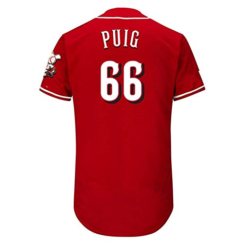 Men's/Women/Youth_Yasiel_#66_Puig Youth Cool Base Alternate Replica Baseball Jersey-Red