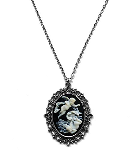 Victorian Vault Fairy Black Cream Cameo Steampunk Gothic Pendant Necklace on Chain