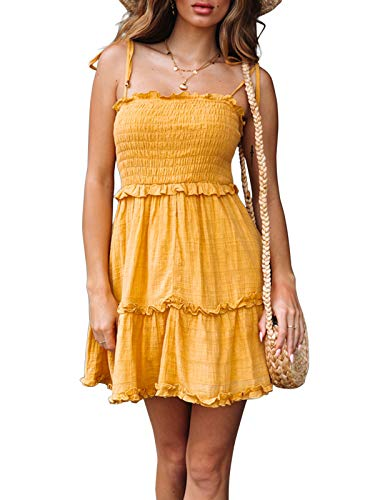 (LEANI Women's Summer Spaghetti Strap Solid Color Ruffle Backless A Line Beach Short Dress Yellow)