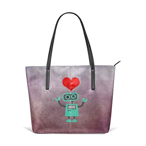 6375a3142486 Women's Soft Leather Tote Shoulder Bag Robot Love Big Capacity Casual  Portable Handbag Purses Work Travel Bag
