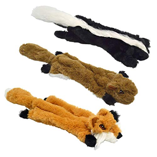 (UOLIWO Stuffingless Dog Toys with Squeaker, Durable No Stuffing Squeaky Plush Dog Chew Toy Set with Squirrel Skunk Fox for Small Medium and Large Dogs 3 Packs)
