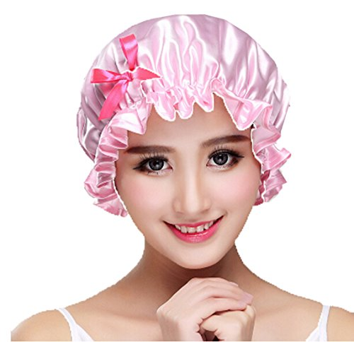 Free Butterflies Patterns (Huachnet Waterproof Double Layers Women's Shower Hat Shower Caps Spa Bathing Caps ( Light Pink Butterfly Pattern))