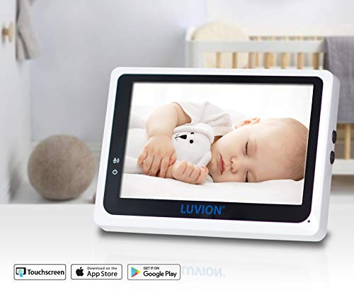 """Sound and Temperature Alert VOX Function and Night Vision Two Way Talk Back Audio Luvion Grand Elite 3 Wi-Fi Connect HD 4.3/"""" Touch Screen Video Baby Monitor with Remote Camera Pan//Tilt /& Zoom"""