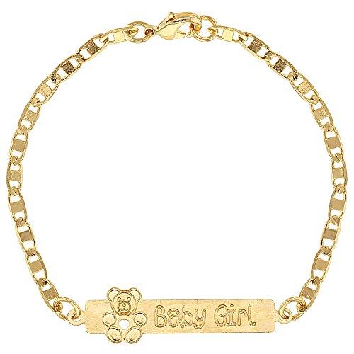 18k Gold Plated Baby ID Bracelet Teddy Bear Girl Birth Gift Newborn 5.5