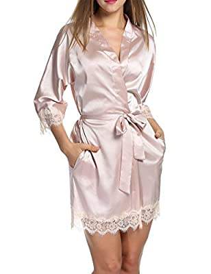 HOTOUCH Women's Lace-Trimmed Satin Short Kimono Robe Bathrobe Loungewear S-XL