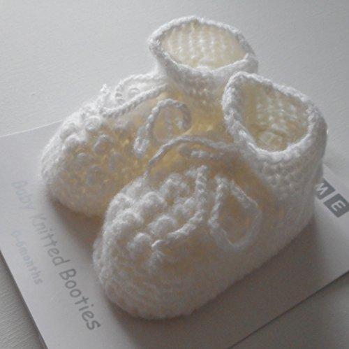 Par de zapatillas/patucos Tricote para bebe de nacimiento blanco o Creme blanco crema Talla:nouveau-ne blanco
