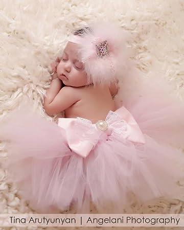 Newborn tutu with headbandset color pink for first newborn photography newborn