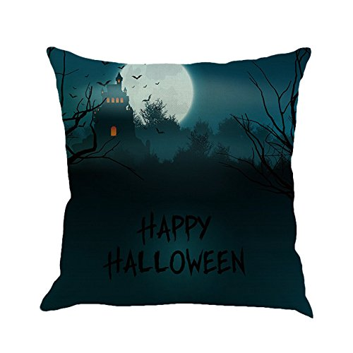 CHIDY Square Happy Halloween Pillow Cases Linen Sofa Cushion Cover Home Decor