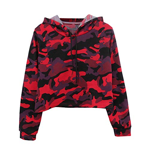 ANJUNIE Womens Printing Short Hoodies Sweatshirt,Long Sleeve Casual Round Neck Pullover Slim Tops (1-Red, XL) ()