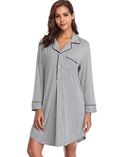 Lusofie Sleepwear Women Boyfriend Style Nightshirt Long Sleeve Nightgown Rayon Sleep Shirt (Grey,S)