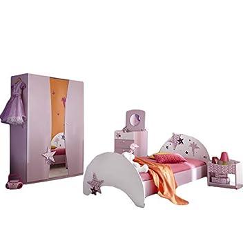 Kinderzimmer Sternchen 4 Teilig Lila Weiss Madchen Bett Nachtkommode