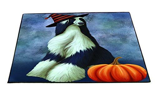 Happy Halloween Afghan Hounds Dog Wearing Witch Hat with Pumpkin Indoor/Outdoor Floormat (Halloween Hound Pumpkin)