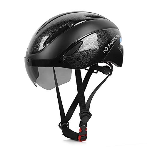 MOKFIRE Adult Bike Helmet, Bicycle Helmet with Removable Magnetic Goggles Visor, CPSC & CE.EN1078 Certification Adjustable Mountain & Road Cycling Helmet for Adult Men/Women Size 22.44-24.01 (Black)