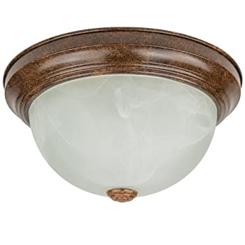 Sunlite DDB11/AL 11-Inch Dome Ceiling Fixture, Distressed Brown Finish with Alabaster Glass