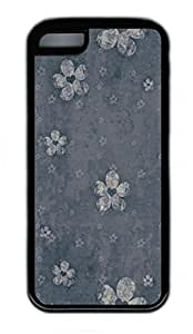 iPhone 5C Case, Personalized Protective PC Soft Hard Black Edge Case for iphone 5C - Flower Background Cover