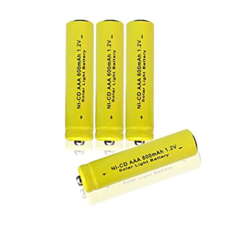 GEILIENERGY 1.2v AAA NiCd 600mAh Triple A Rechargeable Battery for Solar light Lamp Yellow Color ( Pack of 4pcs AAA NI-CD - Rechargeable Aaa Nicd Battery