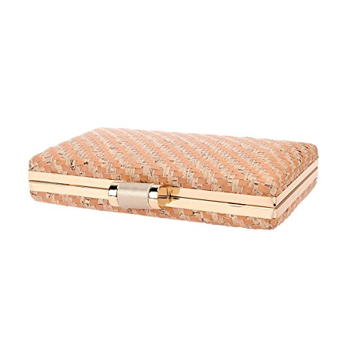 Bonjanvye Bags and Weave PU Leather Evening Beige Clutches Women's rqBrCwx