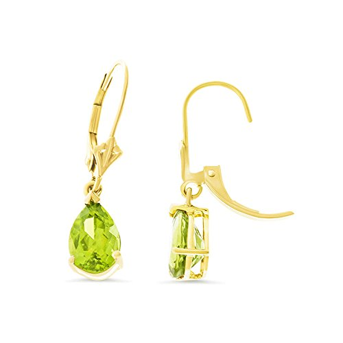 3.07CTW 14K Yellow Gold Genuine Natural Peridot Pear Shaped 6 x 8 mm. Leverback Dangling Earrings