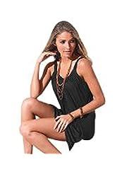 Cinidy Women Sleeveless Round neck Cotton blend Beach Short Mini Dress