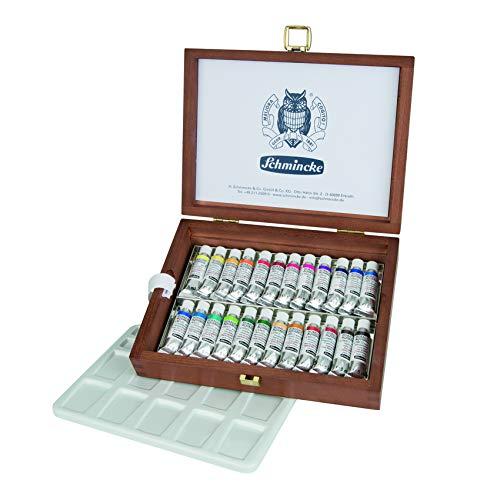 Schmincke Horadam Aquarell 5ml Paint Tube Set in Wooden Box, Set of 24 Colors (74224097)